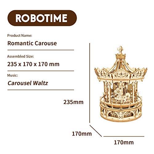 Robotime Carousel 3d Carillon Meccanico In Legno Puzzle Kit Modello Per Adulti Per Costruire Il Tuo Kit Di Costruzione Di Puzzle Artigianato Da Costruzione Tagliato Al Laser 0 3