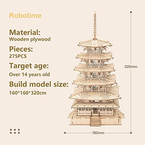 Robotime Fai Da Te Pagoda 3d Puzzle A Cinque Piani Kit Di Artigianato In Legno Costruzione Di Modelli Meccanici Kit Di Puzzle Creativi Miglior Regalo Per Adolescenti E Adulti Da Costruire 0 1
