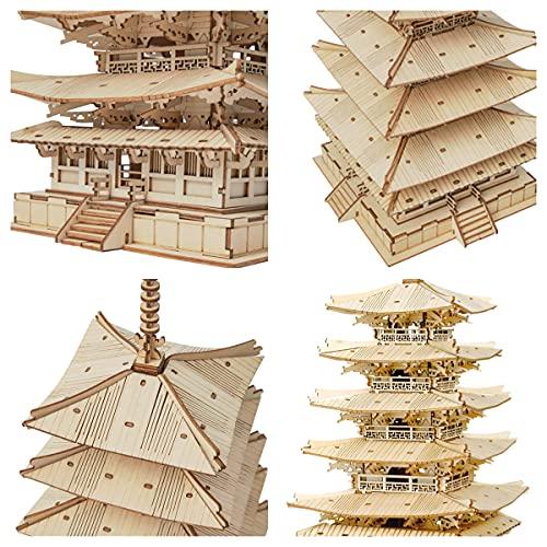 Robotime Fai Da Te Pagoda 3d Puzzle A Cinque Piani Kit Di Artigianato In Legno Costruzione Di Modelli Meccanici Kit Di Puzzle Creativi Miglior Regalo Per Adolescenti E Adulti Da Costruire 0 2