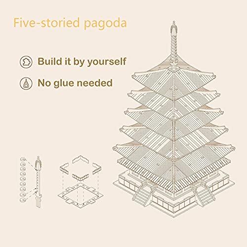 Robotime Fai Da Te Pagoda 3d Puzzle A Cinque Piani Kit Di Artigianato In Legno Costruzione Di Modelli Meccanici Kit Di Puzzle Creativi Miglior Regalo Per Adolescenti E Adulti Da Costruire 0 3