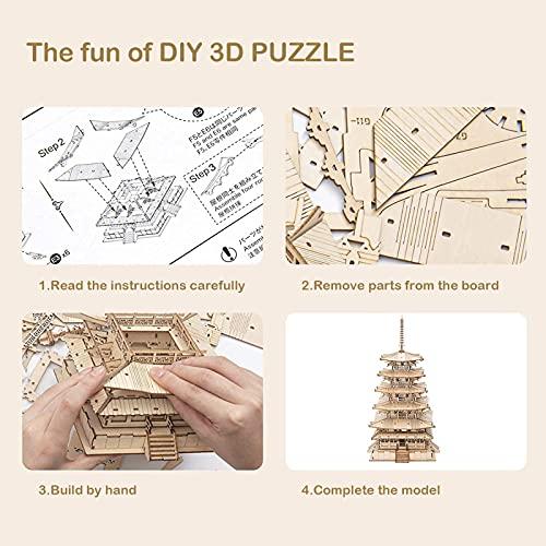 Robotime Fai Da Te Pagoda 3d Puzzle A Cinque Piani Kit Di Artigianato In Legno Costruzione Di Modelli Meccanici Kit Di Puzzle Creativi Miglior Regalo Per Adolescenti E Adulti Da Costruire 0 4