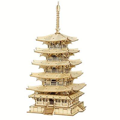 Robotime Fai Da Te Pagoda 3d Puzzle A Cinque Piani Kit Di Artigianato In Legno Costruzione Di Modelli Meccanici Kit Di Puzzle Creativi Miglior Regalo Per Adolescenti E Adulti Da Costruire 0