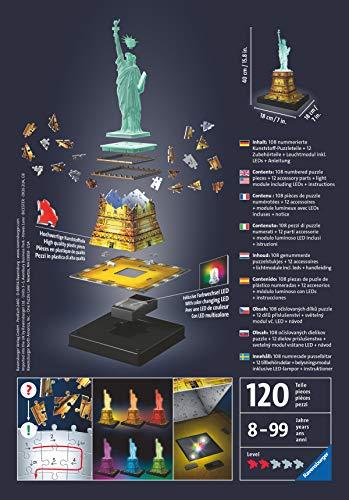 Ravensburger 12596 Puzzle 3d Statua Della Liberta Edizione Speciale Notte Con Led 108 Pezzi Eta Consigliata 8 Puzzle Ravensburger Stampa Di Alta Qualita 0 0