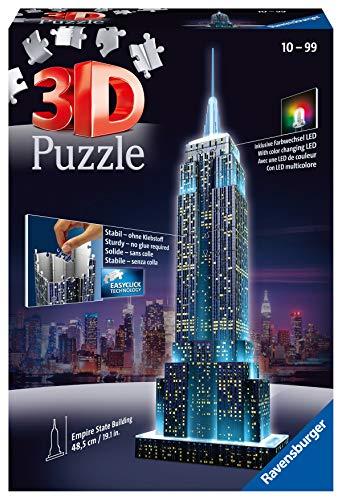 Ravensburger Puzzle 3d Empire State Building Edizione Speciale Notte 216 Pezzi Colore Nero Luce Led 12566 1 Tour Torre Eiffel Puzzle 3d Con Led Edizione Speciale Notte 216 Pezzi Multicolore 0 0