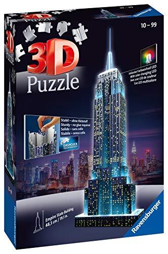 Ravensburger Puzzle 3d Empire State Building Edizione Speciale Notte 216 Pezzi Colore Nero Luce Led 12566 1 Tour Torre Eiffel Puzzle 3d Con Led Edizione Speciale Notte 216 Pezzi Multicolore 0 2