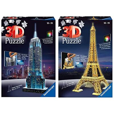 Ravensburger Puzzle 3d Empire State Building Edizione Speciale Notte 216 Pezzi Colore Nero Luce Led 12566 1 Tour Torre Eiffel Puzzle 3d Con Led Edizione Speciale Notte 216 Pezzi Multicolore 0