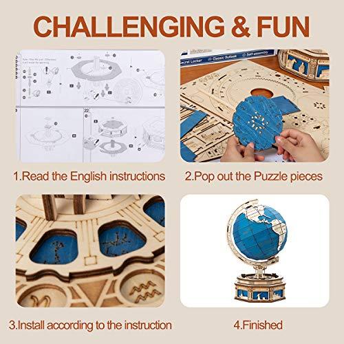 Robotime Il Globo Puzzle 3d 567 Pcs Kit Modello Di Costruzione Puzzle Autoassemblante In Legno Con Armadietto Segreto Decorazione Domestica Regalo Per Bambini E Adulti 0 2