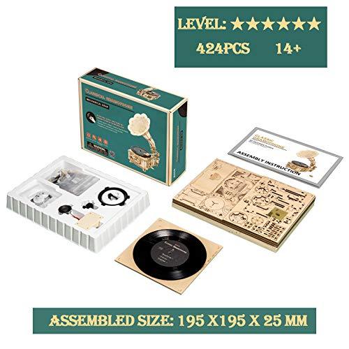 Robotime Puzzle 3d Giradischi In Legno A 3 Velocita In Legno Kit Di Modello Di Costruzione Giradischi Vintage Grammofono Kit Artigianali Cubicfun Puzzle Per Adulti Bambini 0 4