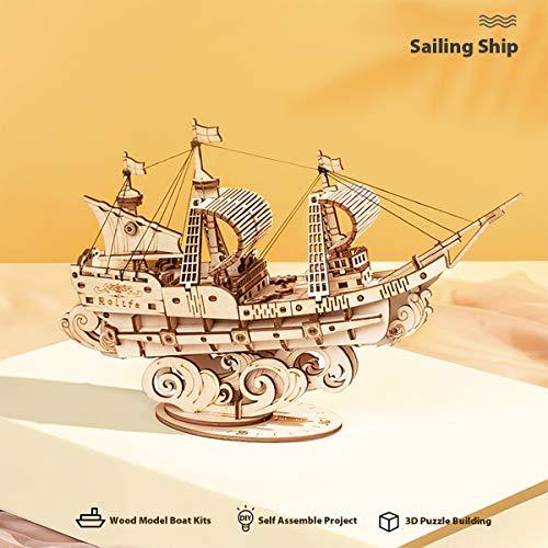 Robotime Puzzle 3d In Legno Per Bambini E Adulti Kit Di Costruzione Di Barche Rompicapo Artigianale Kit Fai Da Te Per Bambini Dagli 8 Anni In Su Veliero 0 1