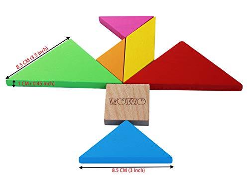 Towo Tangram Puzzle Di Legno Per Bambini Blocchi Grandi E Scatola Colorata Oltre 200 Combinazioni E Forme Geometriche Ideale Da Portare In Viaggio Gioco Di Abilita In Legno Per Bambini E Adulti 0 1