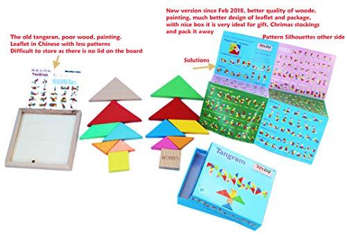 Towo Tangram Puzzle Di Legno Per Bambini Blocchi Grandi E Scatola Colorata Oltre 200 Combinazioni E Forme Geometriche Ideale Da Portare In Viaggio Gioco Di Abilita In Legno Per Bambini E Adulti 0 2