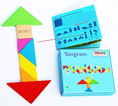 Towo Tangram Puzzle Di Legno Per Bambini Blocchi Grandi E Scatola Colorata Oltre 200 Combinazioni E Forme Geometriche Ideale Da Portare In Viaggio Gioco Di Abilita In Legno Per Bambini E Adulti 0 3