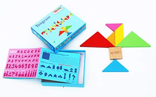 Towo Tangram Puzzle Di Legno Per Bambini Blocchi Grandi E Scatola Colorata Oltre 200 Combinazioni E Forme Geometriche Ideale Da Portare In Viaggio Gioco Di Abilita In Legno Per Bambini E Adulti 0 4