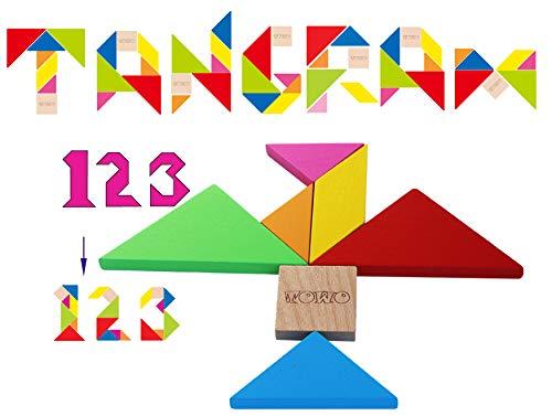 Towo Tangram Puzzle Di Legno Per Bambini Blocchi Grandi E Scatola Colorata Oltre 200 Combinazioni E Forme Geometriche Ideale Da Portare In Viaggio Gioco Di Abilita In Legno Per Bambini E Adulti 0