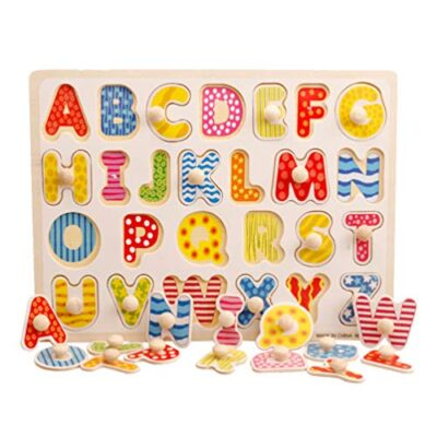 Toyandona Montessori Puzzle In Legno Con Lettere Dellalfabeto Puzzle In Legno Abc Giocattolo Educativo Per Bambini 0