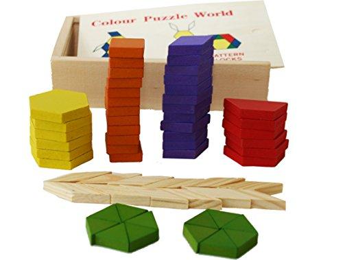 Toys Of Wood Oxford Towo 60 Formine Geometriche In Legno Per Creare Forme E Abbinamenti In Una Scatola Di Legno Gioco Tangram Di Selezione Di Forme Forme Geometriche Per Bambini Di 3 4 5 Anni 0 3