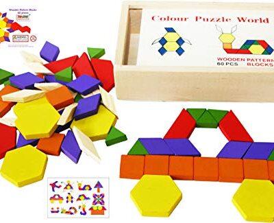 Toys Of Wood Oxford Towo 60 Formine Geometriche In Legno Per Creare Forme E Abbinamenti In Una Scatola Di Legno Gioco Tangram Di Selezione Di Forme Forme Geometriche Per Bambini Di 3 4 5 Anni 0