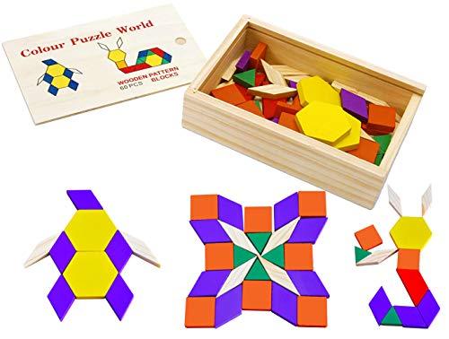 Toys Of Wood Oxford Towo 60 Formine Geometriche In Legno Per Creare Forme E Abbinamenti In Una Scatola Di Legno Gioco Tangram Di Selezione Di Forme Forme Geometriche Per Bambini Di 3 4 5 Anni 0 5
