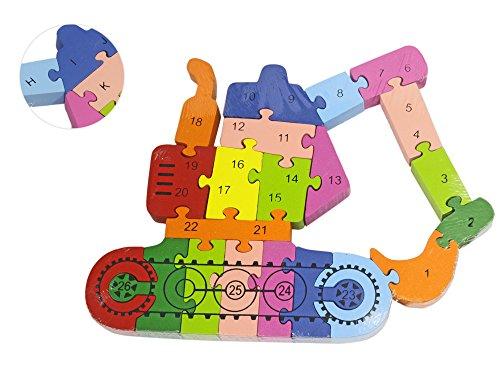 Vetrineinrete Gioco Didattico Per Bambini Puzzle In Legno Ruspa Per Imparare Lettere E Numeri Si Creano Forme E Si Impara A L Alfabeto E A Contare D97 0