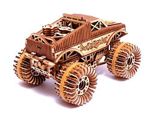 Wood Trick Auto Monster Truck Puzzle 3d Di Legno Tagliato Al Laser Set Di Costruzione Meccanica Assemblaggio Senza Colla 556 Pezzi 0 0