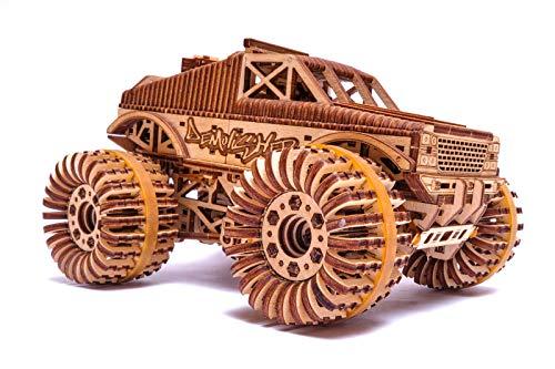 Wood Trick Auto Monster Truck Puzzle 3d Di Legno Tagliato Al Laser Set Di Costruzione Meccanica Assemblaggio Senza Colla 556 Pezzi 0 2