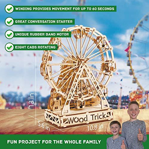 Wood Trick Ruota Panoramica Puzzle 3d Di Legno Tagliato Al Laser Set Di Costruzione Meccanica Rompicapo Per Bambini Ragazzi E Adulti Assemblaggio Senza Colla 227 Pezzi 0 1