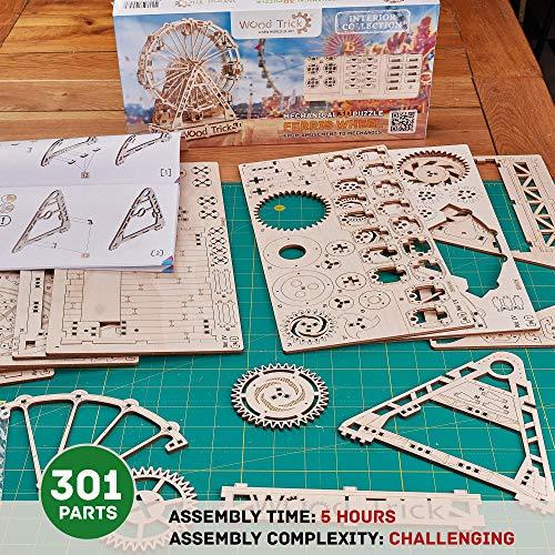Wood Trick Ruota Panoramica Puzzle 3d Di Legno Tagliato Al Laser Set Di Costruzione Meccanica Rompicapo Per Bambini Ragazzi E Adulti Assemblaggio Senza Colla 227 Pezzi 0 2