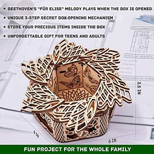 Wood Trick Scatola Di Fiori Misteriosi Puzzle 3d Di Legno Tagliato Al Laser Set Di Costruzione Meccanica Rompicapo Per Bambini Ragazzi E Adulti Assemblaggio Senza Colla 0 1