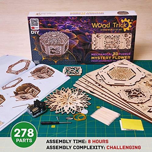 Wood Trick Scatola Di Fiori Misteriosi Puzzle 3d Di Legno Tagliato Al Laser Set Di Costruzione Meccanica Rompicapo Per Bambini Ragazzi E Adulti Assemblaggio Senza Colla 0 2
