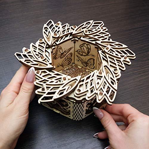 Wood Trick Scatola Di Fiori Misteriosi Puzzle 3d Di Legno Tagliato Al Laser Set Di Costruzione Meccanica Rompicapo Per Bambini Ragazzi E Adulti Assemblaggio Senza Colla 0 4