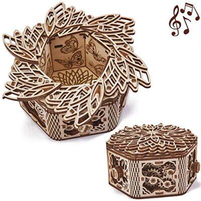 Wood Trick Scatola Di Fiori Misteriosi Puzzle 3d Di Legno Tagliato Al Laser Set Di Costruzione Meccanica Rompicapo Per Bambini Ragazzi E Adulti Assemblaggio Senza Colla 0
