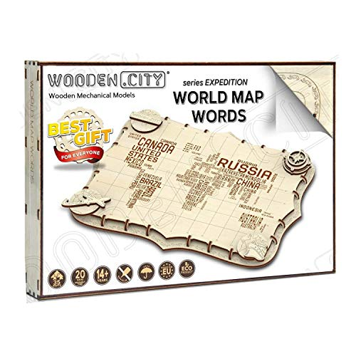 Wooden City World Map Words Puzzle Meccanico Wm508 0