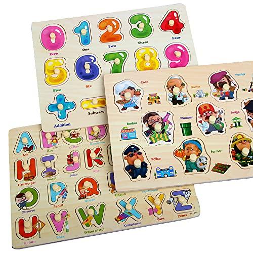 Zoneyan Puzzle In Legno Puzzle Legno Bambini 3 Tipi Di Puzzle In Legno Con Temi Diversi Puzzle Di Legno Di Alfabeto Numeri Puzzle In Legno Carriera Puzzle In Legno I Cognitivi Giochi Puzzle 0 0