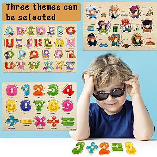 Zoneyan Puzzle In Legno Puzzle Legno Bambini 3 Tipi Di Puzzle In Legno Con Temi Diversi Puzzle Di Legno Di Alfabeto Numeri Puzzle In Legno Carriera Puzzle In Legno I Cognitivi Giochi Puzzle 0 3