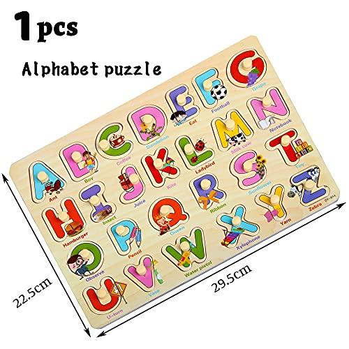 Zoneyan Puzzle In Legno Puzzle Legno Bambini 3 Tipi Di Puzzle In Legno Con Temi Diversi Puzzle Di Legno Di Alfabeto Numeri Puzzle In Legno Carriera Puzzle In Legno I Cognitivi Giochi Puzzle 0 4