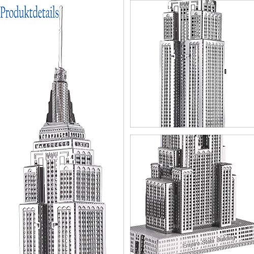Piececool Puzzle 3d Fai Da Te In Metallo Per Adulti Modello Empire State Building 21 Pezzi Argento 0 2