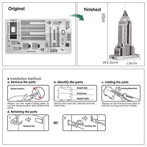 Piececool Puzzle 3d Fai Da Te In Metallo Per Adulti Modello Empire State Building 21 Pezzi Argento 0 3