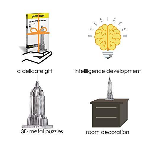Piececool Puzzle 3d Fai Da Te In Metallo Per Adulti Modello Empire State Building 21 Pezzi Argento 0 4
