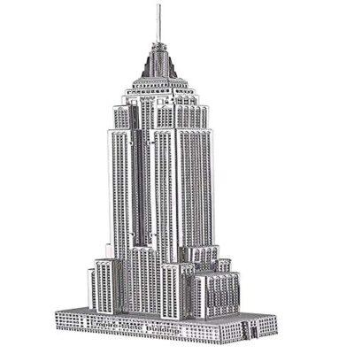 Piececool Puzzle 3d Fai Da Te In Metallo Per Adulti Modello Empire State Building 21 Pezzi Argento 0