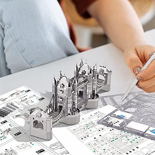 Piececool Puzzle 3d Tagliato A Laser Modello Tradizionale Di Architettura In Metallo Per Adulti London Tower Bridge 65 Pezzi 0 0