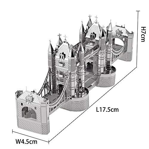 Piececool Puzzle 3d Tagliato A Laser Modello Tradizionale Di Architettura In Metallo Per Adulti London Tower Bridge 65 Pezzi 0 1