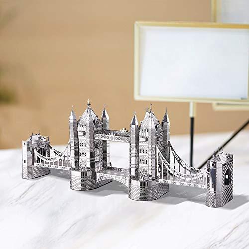 Piececool Puzzle 3d Tagliato A Laser Modello Tradizionale Di Architettura In Metallo Per Adulti London Tower Bridge 65 Pezzi 0 2