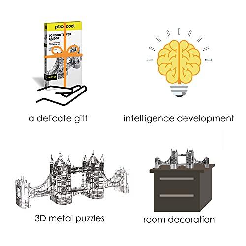 Piececool Puzzle 3d Tagliato A Laser Modello Tradizionale Di Architettura In Metallo Per Adulti London Tower Bridge 65 Pezzi 0 3