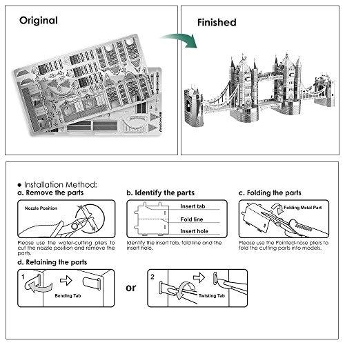 Piececool Puzzle 3d Tagliato A Laser Modello Tradizionale Di Architettura In Metallo Per Adulti London Tower Bridge 65 Pezzi 0 4