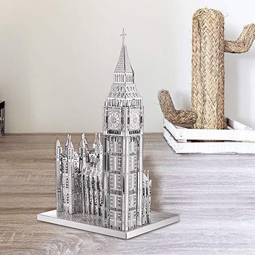 Piececool Puzzle 3d Tagliato Al Laser Fai Da Te Famoso Al Mondo Modello Di Architettura In Metallo Per Adulti Big Ben 49 Pezzi Argento 0 1