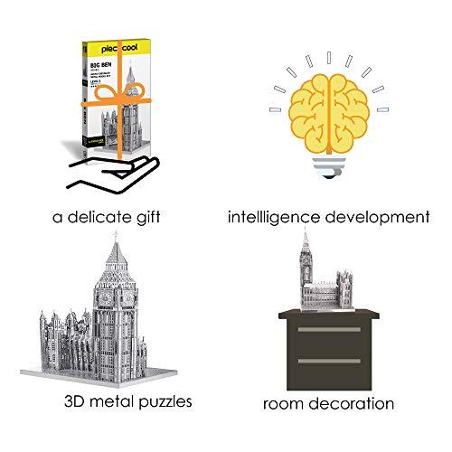 Piececool Puzzle 3d Tagliato Al Laser Fai Da Te Famoso Al Mondo Modello Di Architettura In Metallo Per Adulti Big Ben 49 Pezzi Argento 0 4