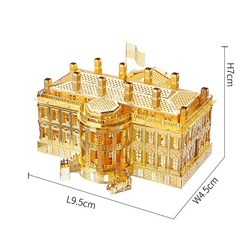 Piececool The White House Puzzle In Metallo 3d Per Adulti Modello Tradizionale Di Architettura Tradizionale Del Mondo 122 Pezzi Oro 0 0