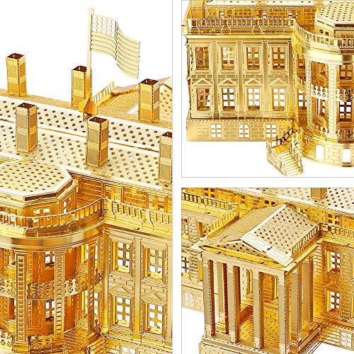 Piececool The White House Puzzle In Metallo 3d Per Adulti Modello Tradizionale Di Architettura Tradizionale Del Mondo 122 Pezzi Oro 0 1