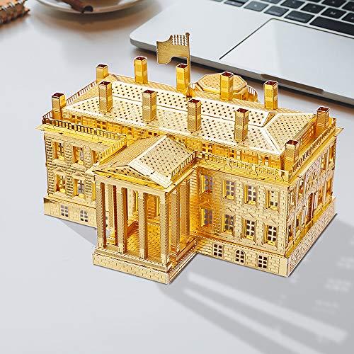 Piececool The White House Puzzle In Metallo 3d Per Adulti Modello Tradizionale Di Architettura Tradizionale Del Mondo 122 Pezzi Oro 0 4