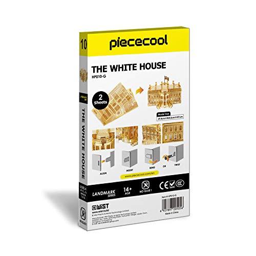 Piececool The White House Puzzle In Metallo 3d Per Adulti Modello Tradizionale Di Architettura Tradizionale Del Mondo 122 Pezzi Oro 0 5
